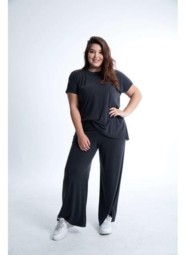 Luokk Emma1 Beli Lastikli Paçaları Yırtmaçlı Kadın Pantolon Siyah